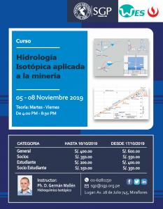 05 – 08 NOVIEMBRE | Hidrología Isotópica aplicada a la Minería | CURSO | INSCRIPCIONES ABIERTAS