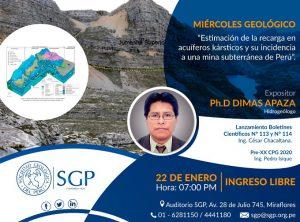 22 ENERO | Estimación de la recarga en acuíferos kársticos y su incidencia a una mina subterránea de Perú