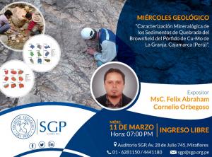 11 MARZO | Caracterización Mineralógica de los Sedimentos de Quebrada del Brownfield del Pórfido de Cu-Mo de La Granja, Cajamarca (Perú)