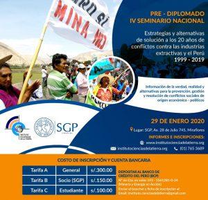 29 ENERO | Estrategias y alternativas de solución a los 20 años de conflictos contra las industrias extractivas y el Perú