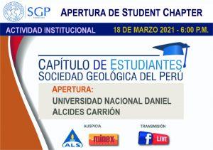 18 MARZO 2021 – 6:00 pm | APERTURA DE STUDENT CHAPTER UNDAC