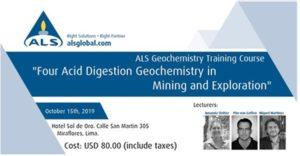 15 octubre | ALS Geochemistry Training Course – Lima, Perú
